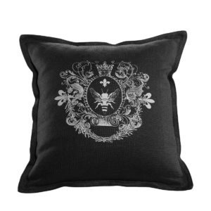 LOGO PILLOW BLACK LINEN-0