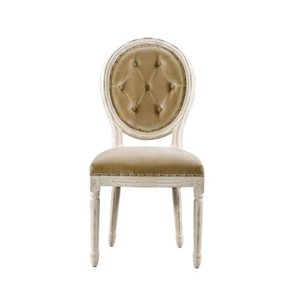 Стул Vintage Louis Round Vintage White Button Side Chair -0