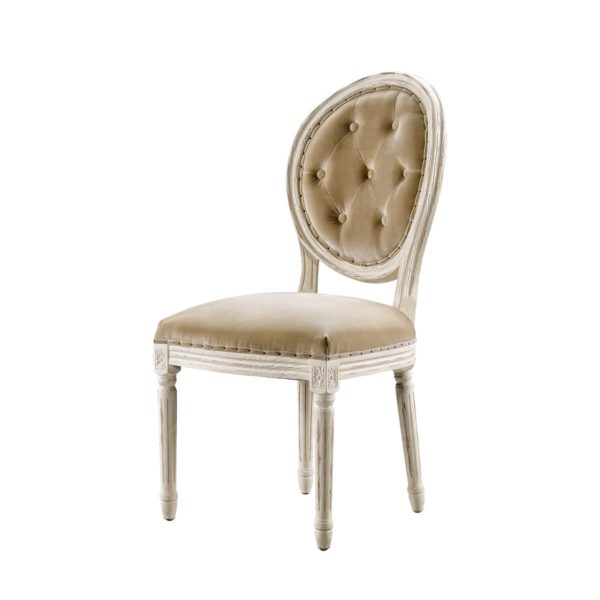 Стул Vintage Louis Round Vintage White Button Side Chair -2199