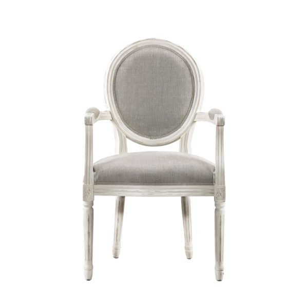 Стул Vintage Louis Round Vintage White Arm Chair-0
