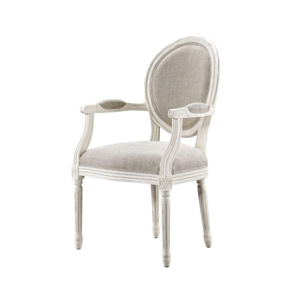Стул Vintage Louis Round Vintage White Arm Chair-2222