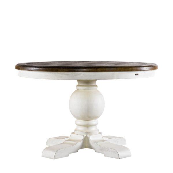 Эксклюзивный стол 48'' Round Trestle Vintage White Table-0