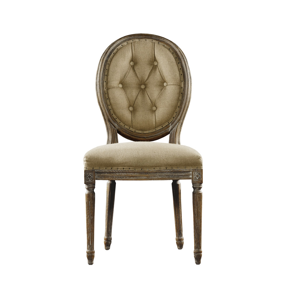 Стул VINTAGE LOUIS ROUND BUTTON SIDE CHAIR-0