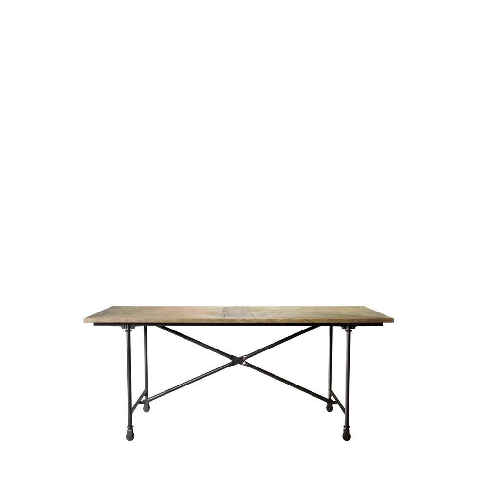 """Стол 72"""" VINTAGE WOOD & METAL TABLE-0"""