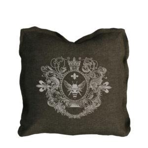 Logo Pillow Brown Linen-0
