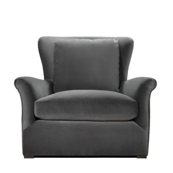 WINSLOW LOUNGE GREY VELVET CHAIR-0