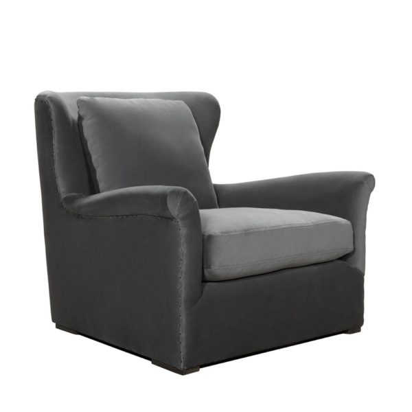 WINSLOW LOUNGE GREY VELVET CHAIR-2019