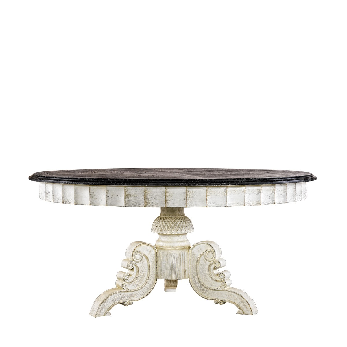 "Стол 63"" French Vintage Black & White Round Table-0"